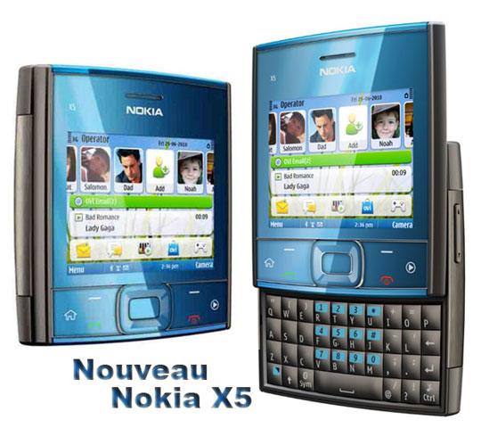 nokia x5 slide Nokia X5: Nouveau Mobile Slide Clavier QWERTY