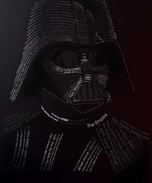 Superbe portrait 3D en typographie pour Dark Vador