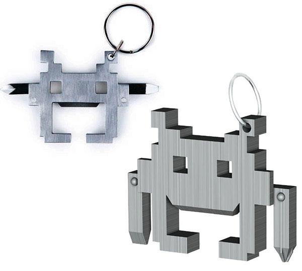 Space Invaders PorteClés MultiOutils Avec Décapsuleur - Porte clé décapsuleur