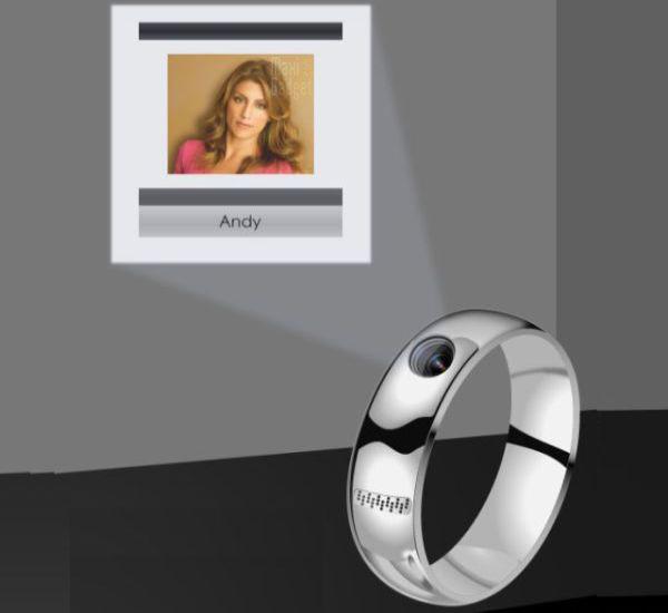 nouveau concept de bague telephone avec projecteur (ring-phone)