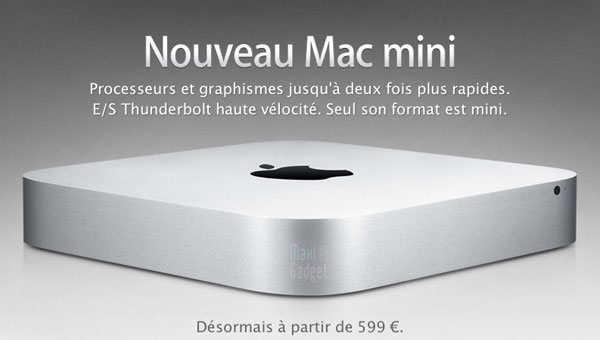 apple officialise le nouveau mac mini processeur bicoeur core i5 quadricoeur i7 thunderbolt