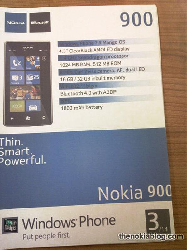 nokia 900 leaké, nouveau windows phone 7.5 mango avec fiche technique et photo