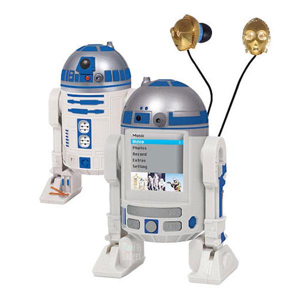 nouveau lecteur mp3 mp4 en forme de robot R2-D2 avec ecouteurs C-3P0