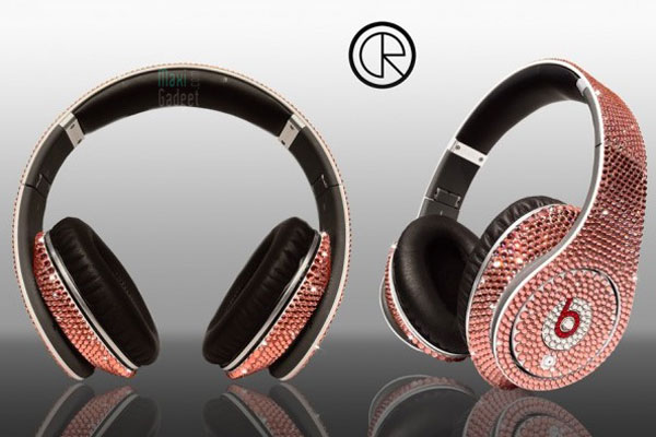 casque monster beats dr dre de luxe en cristaux de swarovski rose