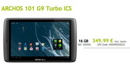 archos g9 turbo ics 1gb de ram en vente