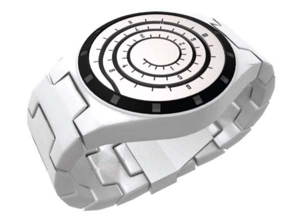spiral watch, montre design avec affichage en spirale