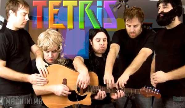 tetris musique à 5 sur une guitare