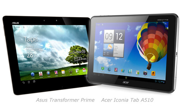 comparatif acer iconia tab A510 vs asus transformer prime