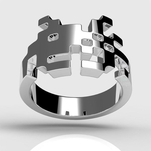 bague space invaders pour geek