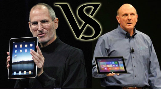 duel steve jobs vs steve balmer pour le lancement des tablettes ipad et surface