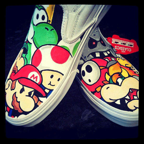 vans chaussures geek paper mario Mario, Hello Kitty, Pokemon, Disney: Chaussures VANS de Geek