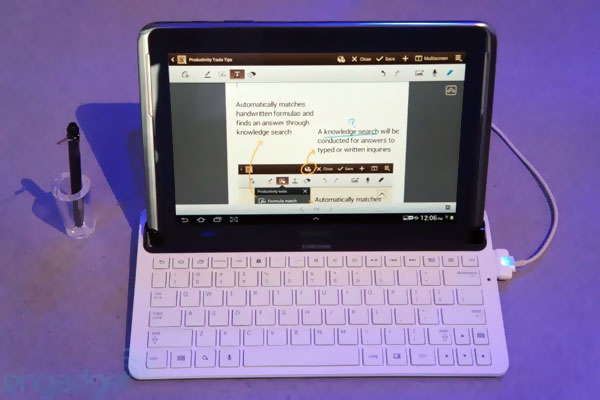 galaxy note 10 1 dock clavier Samsung officialise le Galaxy Note 10.1: Video Prise en Main