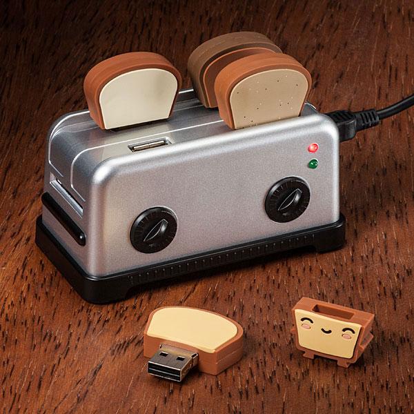 hub usb 4 ports en forme de grille pain avec lecteur de cartes SD