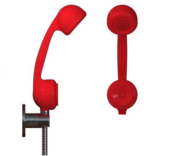 telephone retro pommeau de douche Se doucher avec un téléphone rétro, encore un truc de geek