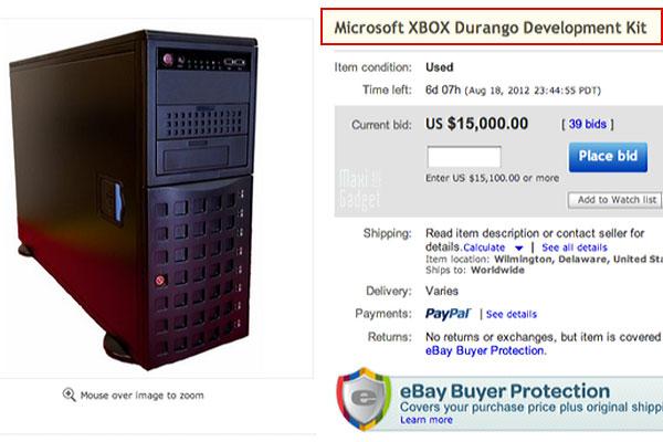 kit de développement future console xbox durango vendu sur ebay au prix de 20000$