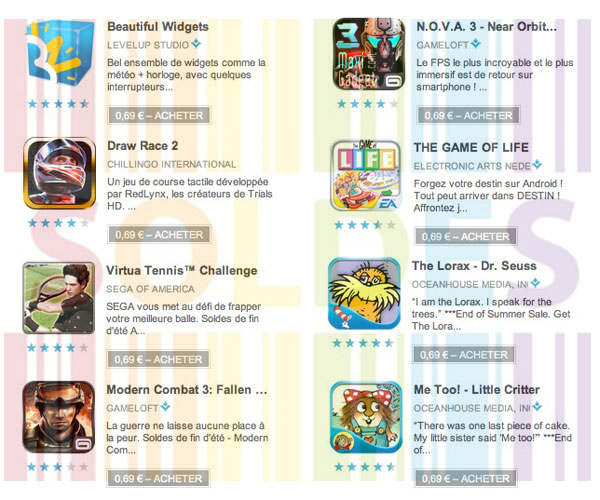 fin de soldes jeux applis android au prix de 0,69 euros sur le google play store