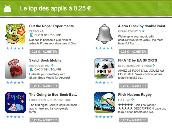 exemple de jeux applis android à 25 cents sur le google play store