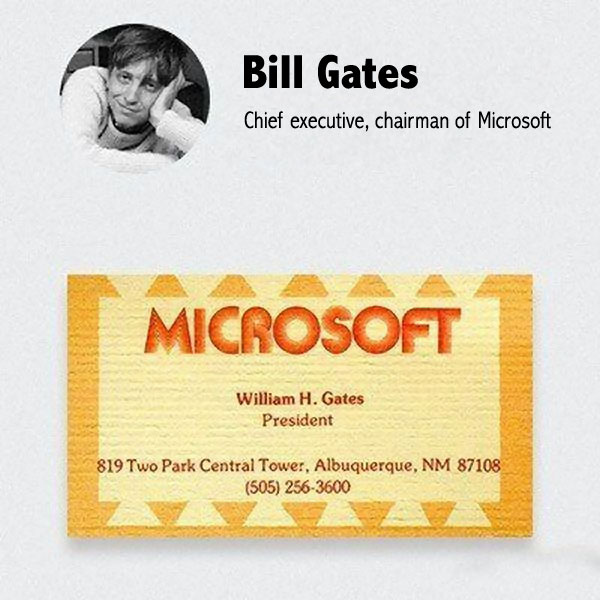Premire Carte De Visite Bill Gates Chez Microsoft
