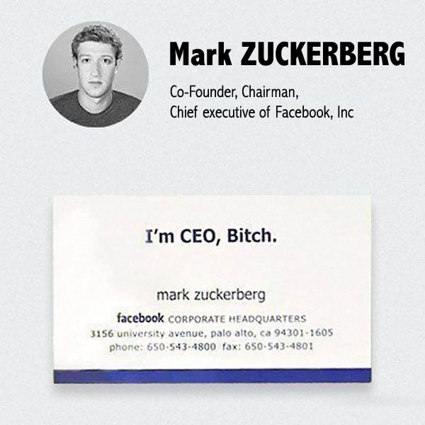 Carte De Visite Mark Zuckerberg Facebook