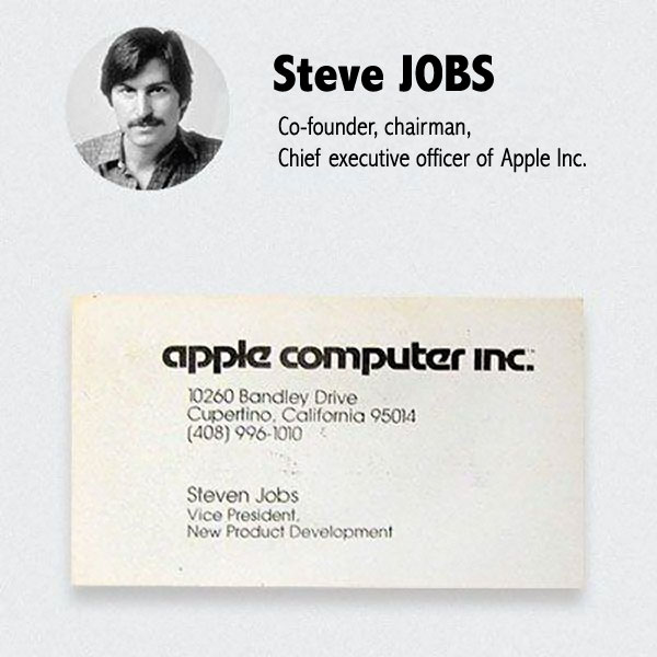 Premire Carte De Visite Steve Jobs Patron Apple Computer Inc