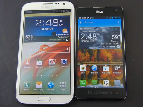 comparatif galaxy note 2 vs lg optimus g Comparatif Quad Core: Galaxy Note 2 ou LG Optimus G (Video)