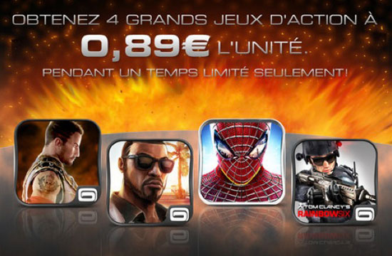 4 jeux d'actions Gameloft en promotion à 0,89 euros pour iphone, ipad, ipod touch