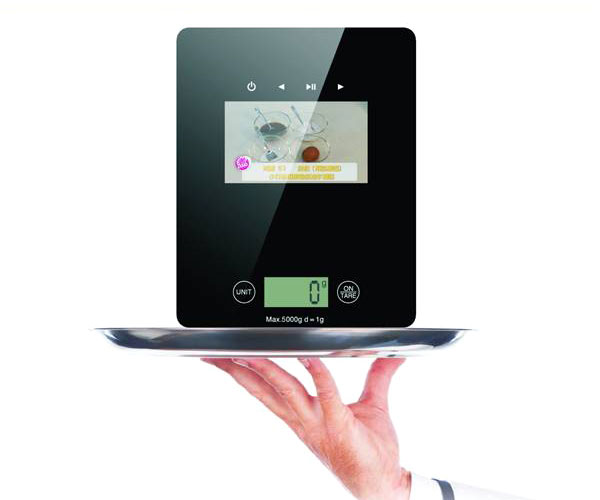 It Gadget High Tech Kitchen Scale With Lcd Media Player