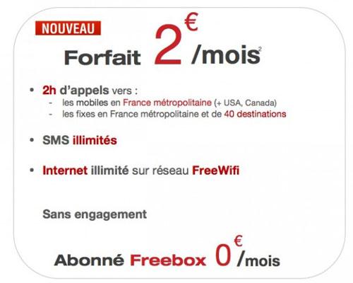 free mobile forfait 2 heures pour 2 euros avec SMS et internet illimités sur FreeWiFi