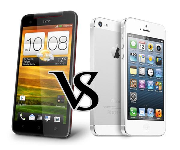 comparatif htc droid dna butterfly vs iphone 5 en video