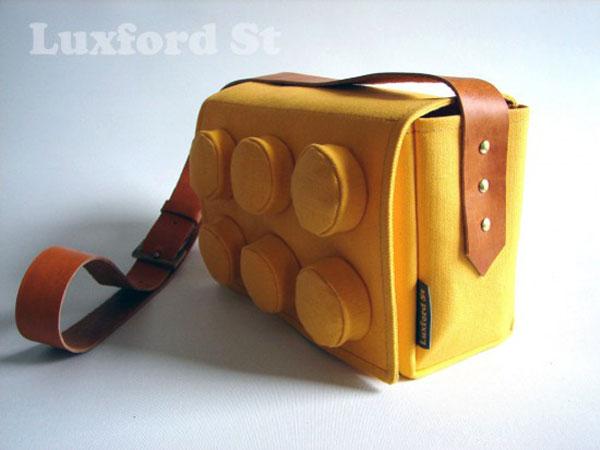 LEGO sac denim coton en forme de brique jaune