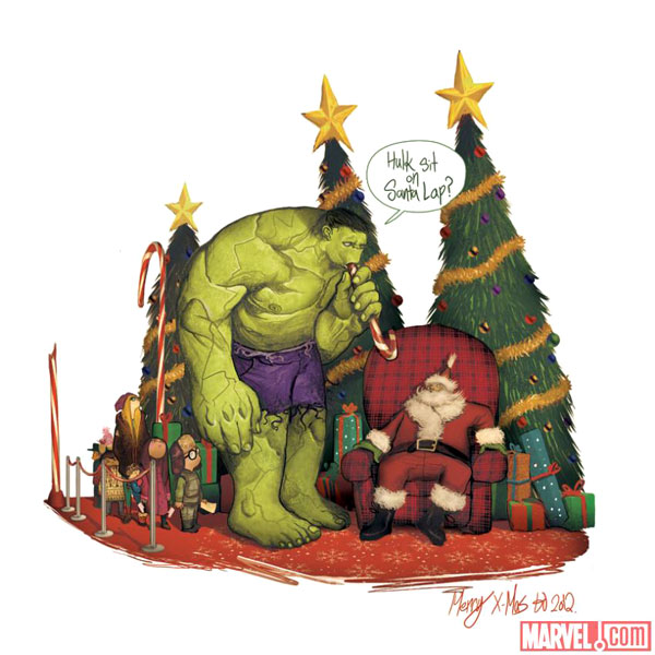 marvel carte noel hulk par mike delmundo Marvel: Collection de Cartes de Voeux Super Heros pour Geek