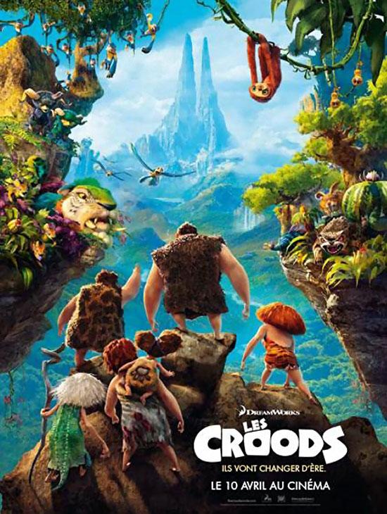 the croods affiche classique du film d'animation dreamworks en salle en avril 2013