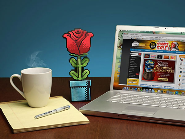 8-bit rose cadeau ideal pour la st-valentin geek