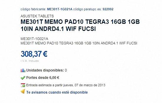 asus me301T details techniques et prix leakes sur un site de vente en ligne