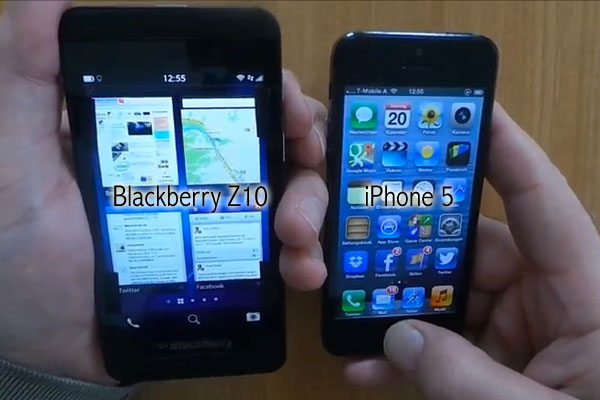 comparatif blackberry z10 iphone5 Comparatif Video: Blackberry Z10 ou iPhone 5 Quel est le Meilleur ?