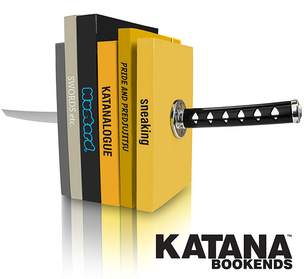 katana bookends, cale-livres en forme de sabre de samourai