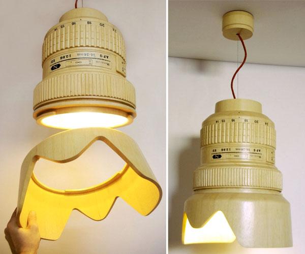 DSLR Paparazzi Lampe Lampe DSLR Paparazzi: Plafonnier en forme dObjectif Reflex pour Photographe