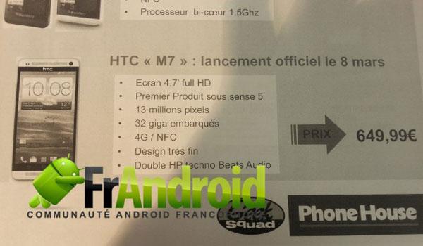 htc m7 prix date de sortie phonehouse HTC M7: Le Puissant Smartphone arrive en Mars à 650 euros