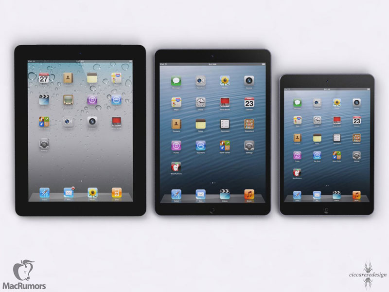 ipad5 ipad4 ipadmini Futur iPad 5 vs iPad Mini vs iPhone 5: Comparatif en images