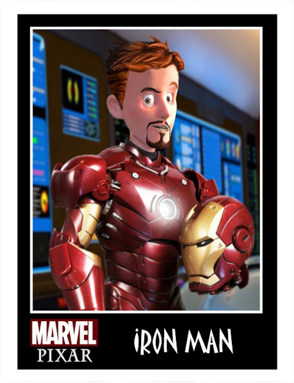 marvel pixar iron man Les Super Heros Marvel DC Comics à la sauce PIXAR en images