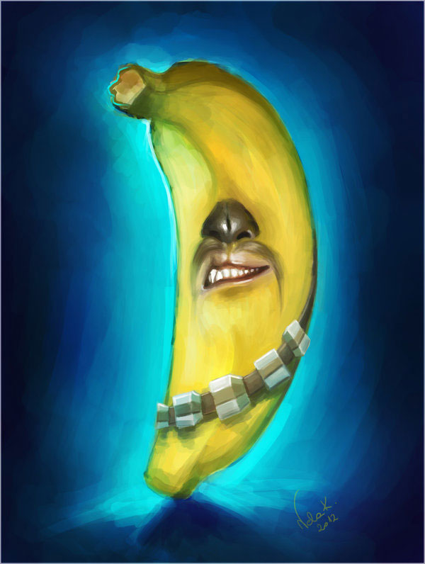 illustration star wars chewbacca en banane
