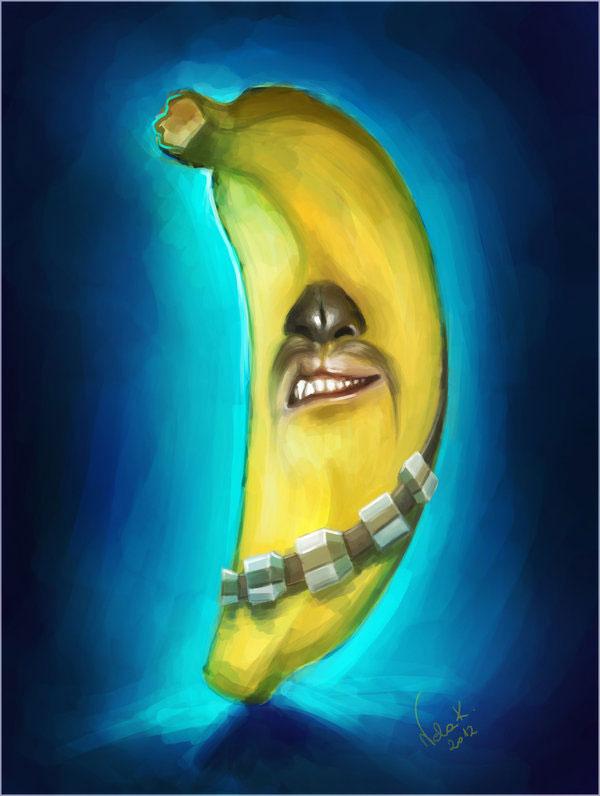 illustration star wars chewbacca en banane
