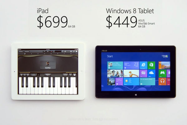 Tablette Windows8 vs ipad Pub Comparative PUB Tablette Windows 8 vs iPad 4: Quand Microsoft tacle Apple