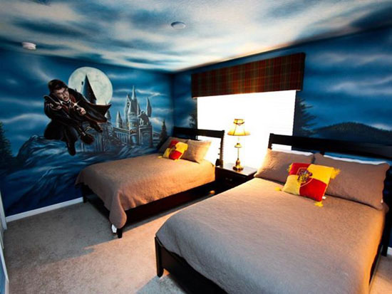 chambre geek harrypotter 15 Magnifiques Chambres Geek aux couleurs de vos Super Héros