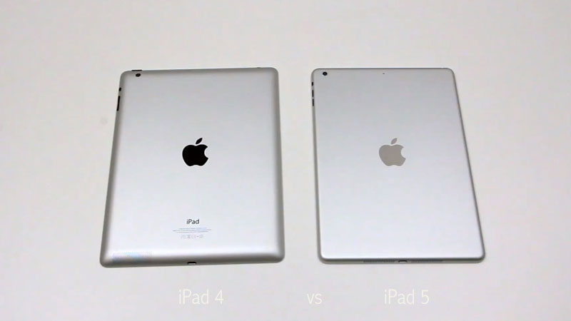 ipad5 vs ipad4 comparatif Comparatif Video: Nouvel iPad 5 vs iPad 4: Plus Compact Plus Fin