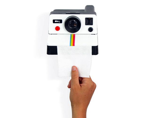 polaroll derouleur papier wc en forme de polaroid