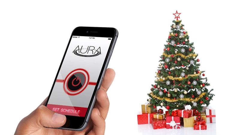 Sapin de Noel guirlande pour sapin de noel : AURA: Boules Connectées Multicolores pour le Sapin de Noël