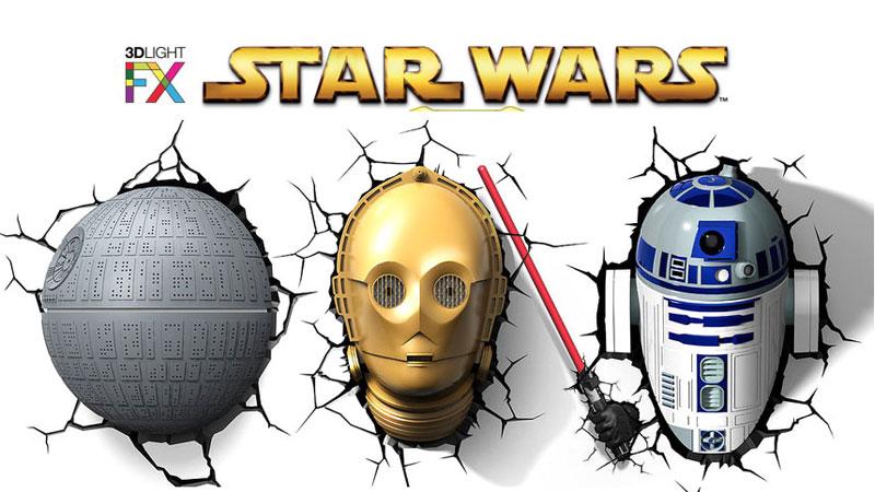 Star Wars Lampe Murale 3d Avec R2d2 C 3po Etoile De La Mort