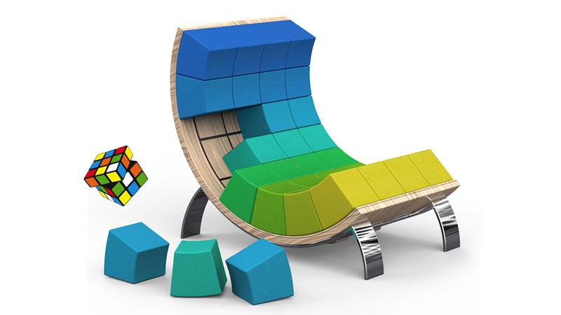 Rubiks Cube Fauteuil Design Et Personnalisable Pour Geek - Fauteuil multicolore design