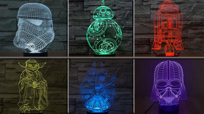star wars lampe 3d illusion d optique